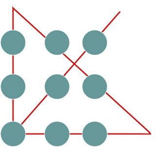 پاسخ معمای شش نقطه و چهار خط راست